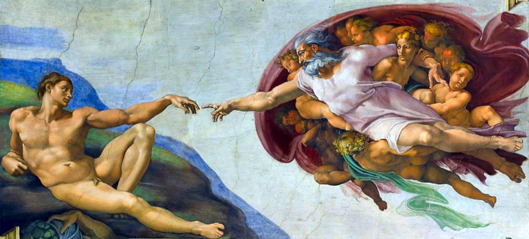 La création d'Adam, par Michel-Ange