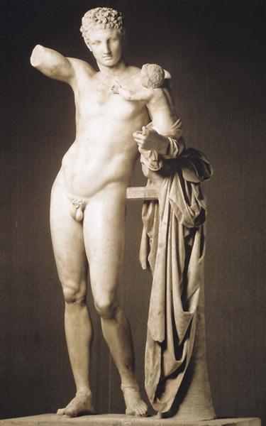 Hermès portant Dionysos enfant, longtemps attribué à Praxitèle, copie romaine de l'époque impériale (?