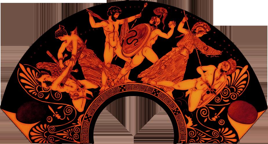 Une scène de la Gigantomachie, poterie attique à figures rouges