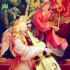 Anges musiciens, détail du Retable d'Issenheim, par Matthias Grünewald