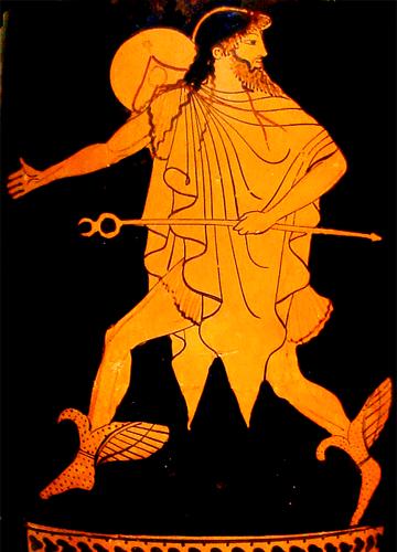 Représentation archaïque d'Hermès sur une poterie à figures rouges