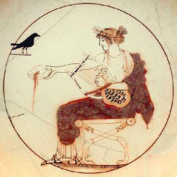 Apollon citharède, poterie retrouvée et exposée à Delphes