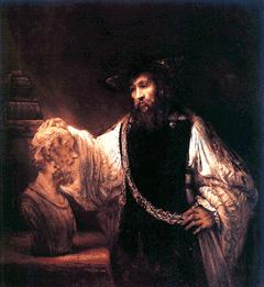Aristote contemplant le buste d'Homère, par Rembrandt van Rijn
