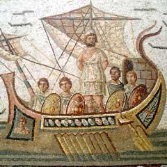 Ulysse et ses compagnons, mosaïque du musée du Bardo à Tunis