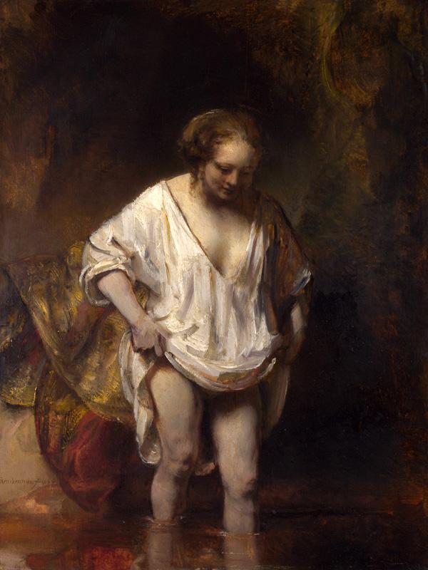Femme se baignant dans une rivière, par Rembrandt
