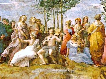 Apollon et les Muses sur le mont Parnasse, détail d'une fresque de Raffaello