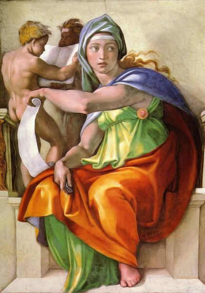 La sibylle de Delphes, détail du plafond de la Chapelle Sixtine