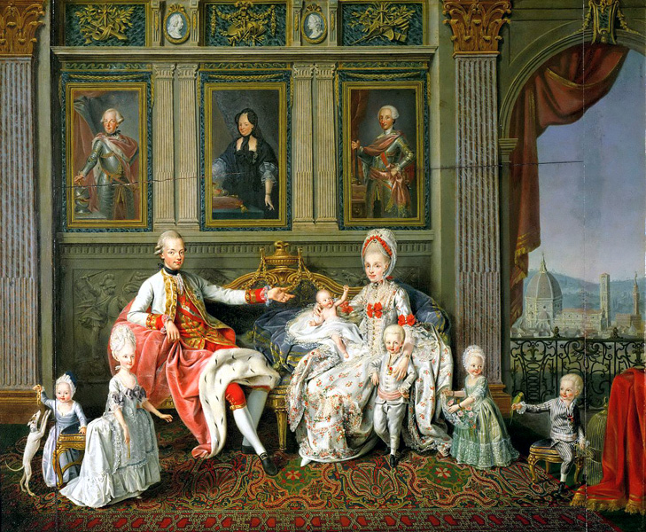 Le grand duc et la grande duchesse de Toscane avec leur famille, tableau de Wenceslaus Werlin, Kunsthistorisches Museum de Vienne